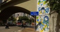 CONSULADO DE ISRAEL CELEBRA AMIZADE COM BRASIL E SP EM GRAFITE NA AV. NOVE DE JULHO